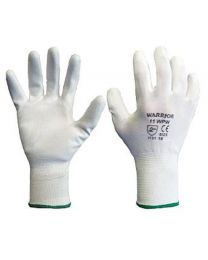 Warrior White PU Coated Work Gloves