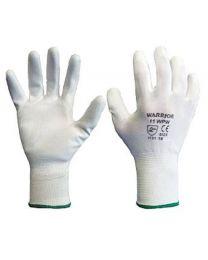 Warrior White PU Coated Work Gloves
