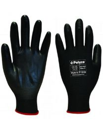 Polyco Matrix P Grip Black PU Palm Coated Work Gloves