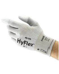 Ansell Hyflex 48-135 PU Fingertip Coated ESD Work Gloves