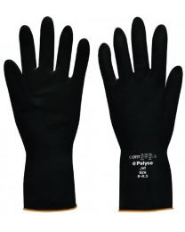 Polyco Jet Black Latex Chemical Resistant Gloves