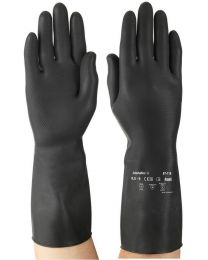 Case 144 Pairs Ansell Marigold AlphaTec 87-118 Black Latex Gloves 8.5 L