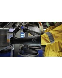 Ansell AlphaTech 87-104 Heavy Duty 17 Inch Black Latex Gauntlets